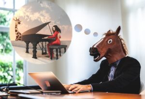 Man in horse head dreaming of playing piano to a giraffe